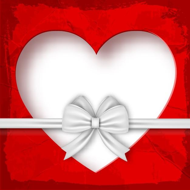 Walentynki Skład Prezent Na Walentynki Z Białą Wstążką I Ilustracji Serca Darmowych Wektorów