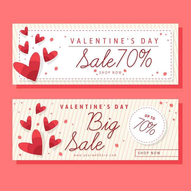 Walentynki sprzedaż banery w płaskiej konstrukcji Darmowych Wektorów