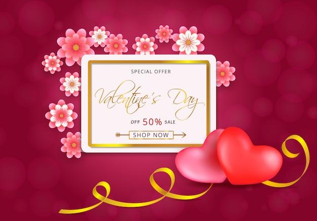Walentynki Sprzedaż Karty Ze Złotą Ramą Z Serca I Kwiaty Cięte Na Różowo Premium Wektorów