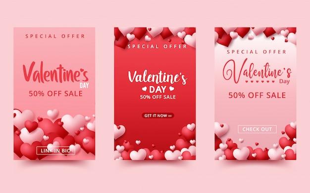 Walentynki Sprzedaż Tło. Romantyczna Kompozycja Z Serca. Premium Wektorów