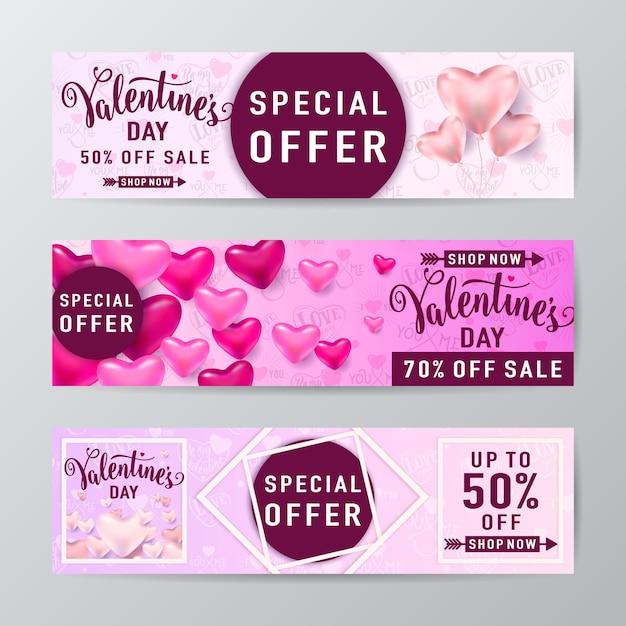Walentynki Sprzedaż Transparent Z Balonami W Kształcie Serca, Linią Rombową I Okrągłą Ramką Oraz Tekstem Napisowym Darmowych Wektorów