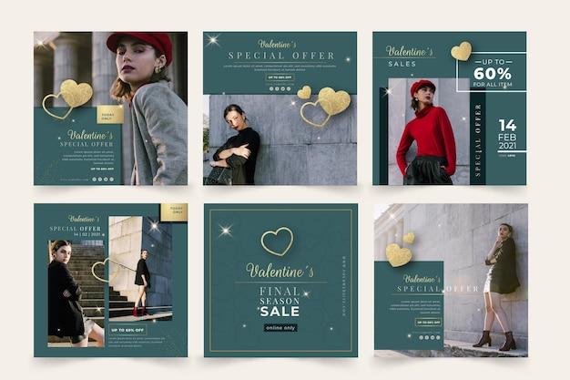 Walentynki Sprzedażowe Posty Na Instagramie Darmowych Wektorów