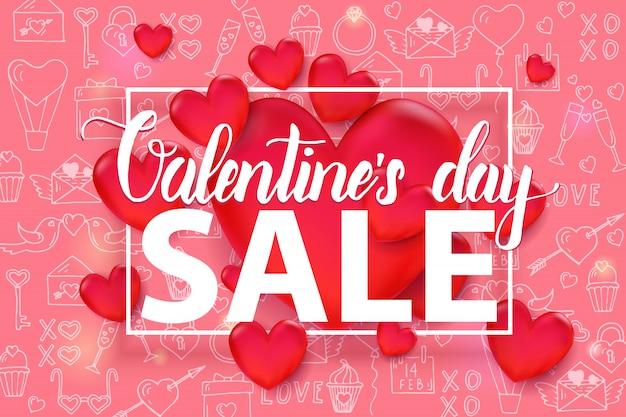 Walentynki Sprzedaży Tło Z 3d Czerwonym Sercem I Ramką Na Wzór Premium Wektorów