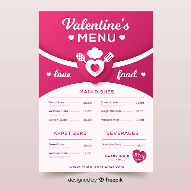 Walentynki szablon menu Darmowych Wektorów
