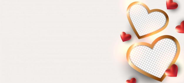 Walentynki Tło. Konstrukcja Ramki Na Zdjęcia. Premium Wektorów
