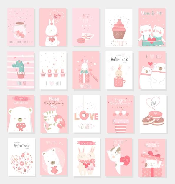 Walentynki tło z cute baby zwierząt kreskówek Premium Wektorów