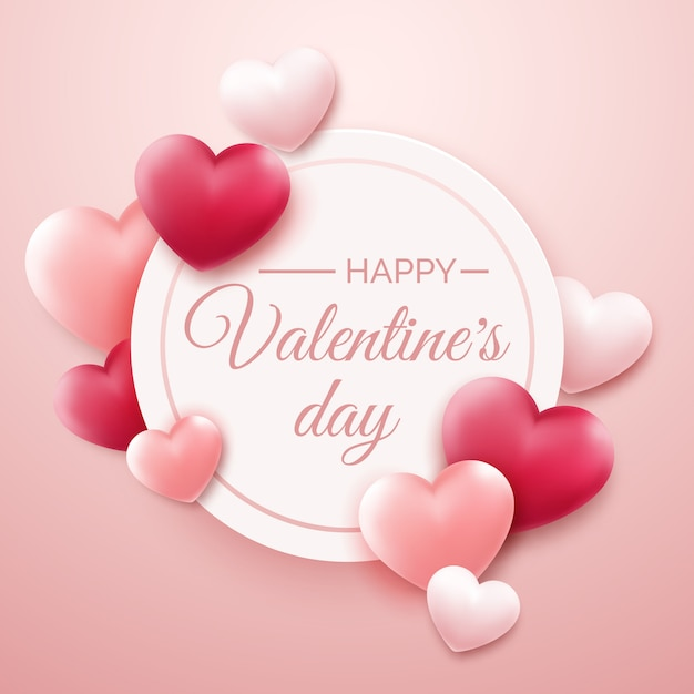 Walentynki Tło Z Czerwonymi, Różowymi Sercami I Miejscem Na Tekst Premium Wektorów
