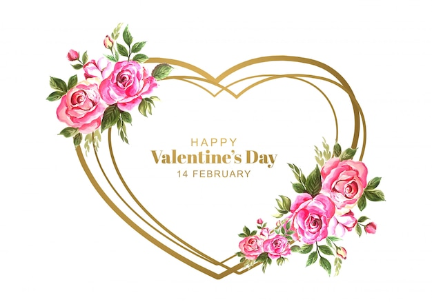 Walentynki Z Ozdobnymi Kwiatami Darmowych Wektorów