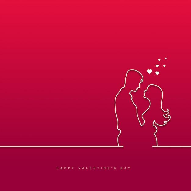 Walentynki z para tła Premium Wektorów
