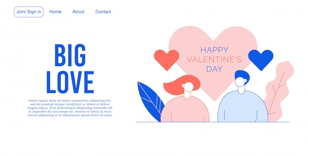 Walentynki Zakochani Projekt Strony Docelowej Premium Wektorów