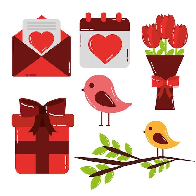 Walentynki Zestaw Ikon Słodkie Miłości Premium Wektorów