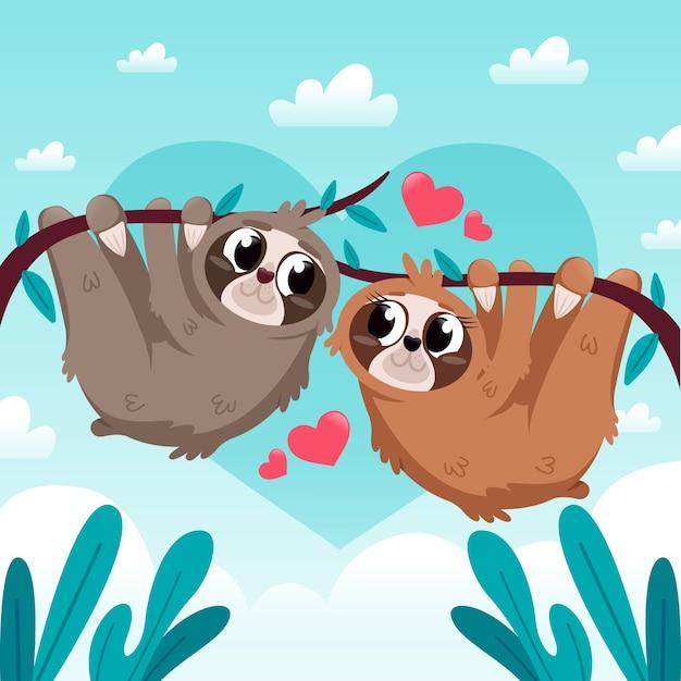 Walentynki Zwierząt Para Płaska Konstrukcja Stylu Darmowych Wektorów