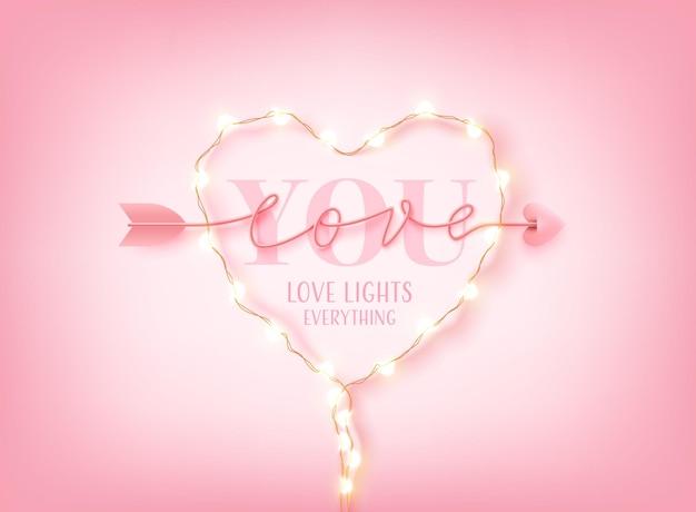Walentynkowa Karta Lub Baner Ze Słowem Love You, Diodami Led I Strzałką Skrypt Miłosny Słowo Ręcznie Rysowane Napis Na Różowo. Premium Wektorów