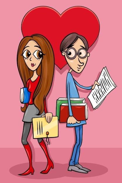 Walentynkowa Karta Z Zakochaną Parą Mężczyzny I Kobiety Premium Wektorów