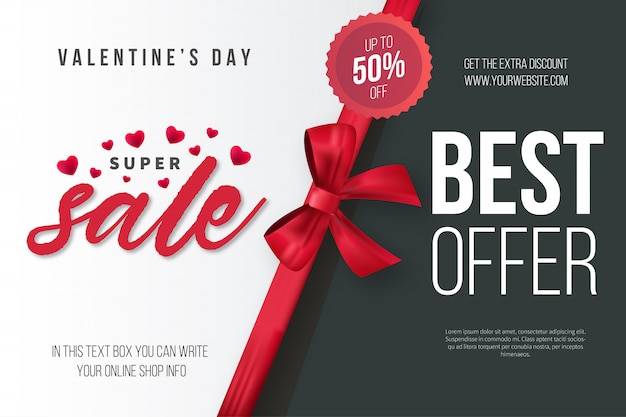 Walentynkowa super sprzedaż z realistyczną wstążką Darmowych Wektorów