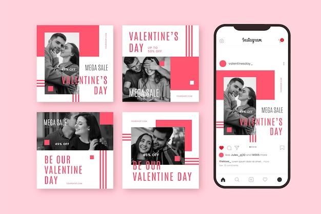 Walentynkowa Wyprzedaż Na Instagramie Darmowych Wektorów