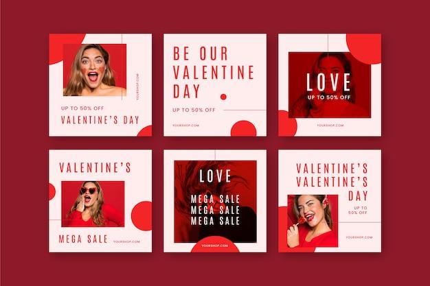 Walentynkowy Pakiet Postów Do Mediów Społecznościowych Darmowych Wektorów