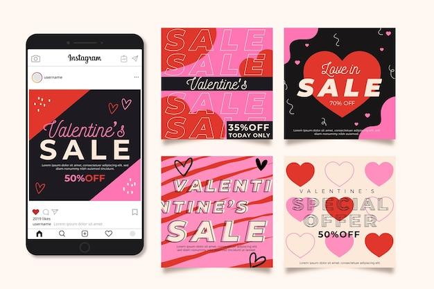 Walentynkowy Pakiet Postów Na Instagramie Darmowych Wektorów