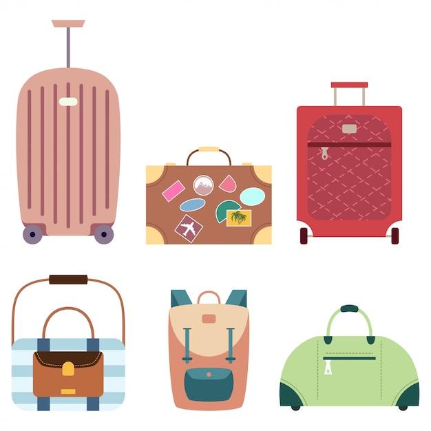 Walizka i podróży torby wektorowy ustawiający kreskówek bagażu płaskie ikony odizolowywać Premium Wektorów