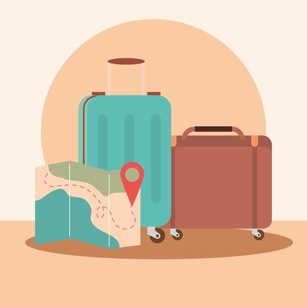 Walizki Podróżne I Mapa Premium Wektorów