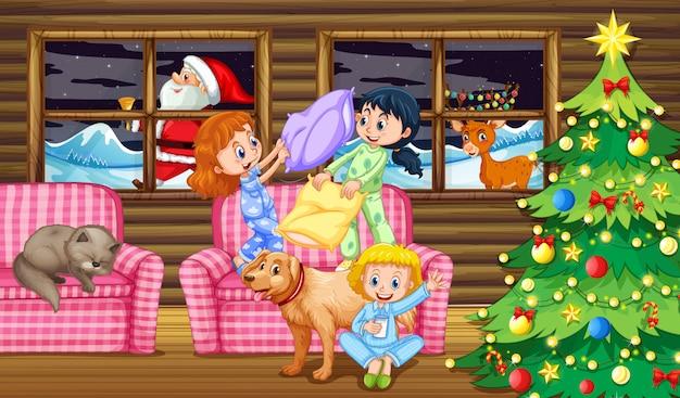Walka na poduszki dzieci w nocy Premium Wektorów