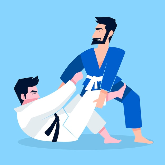 Walka Sportowców Jiu-jitsu Premium Wektorów