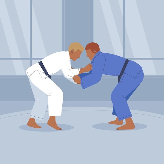 Walka Sportowców Jiu-jitsu Darmowych Wektorów