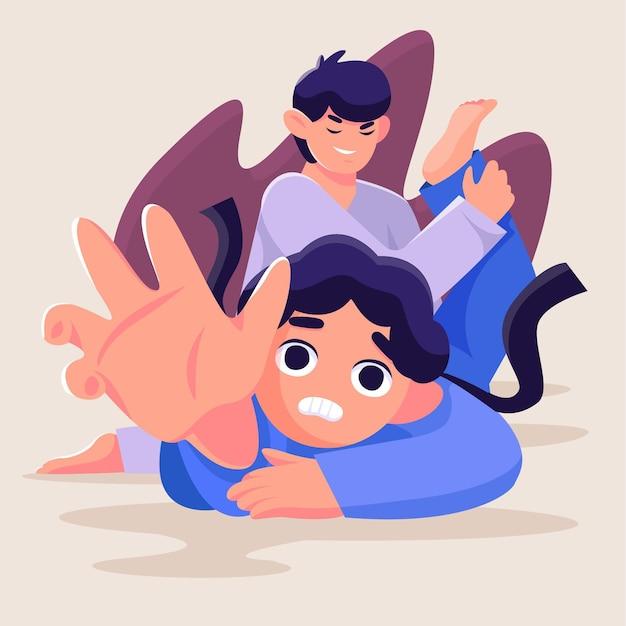 Walka Zawodników Karate Jiu-jitsu Darmowych Wektorów