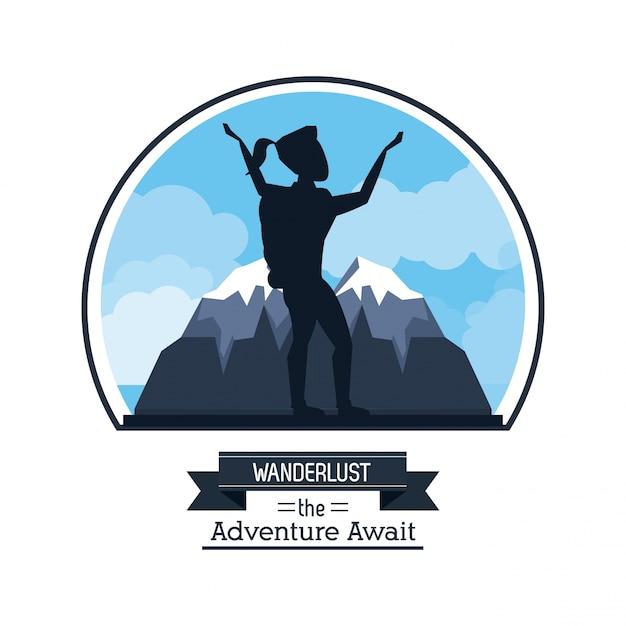 Wanderlust Przygoda Czeka Z Pielgrzymką Kobieta Arywista Premium Wektorów