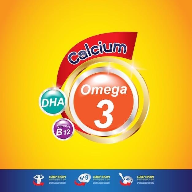 Wapń Omega I Witamina Premium Wektorów