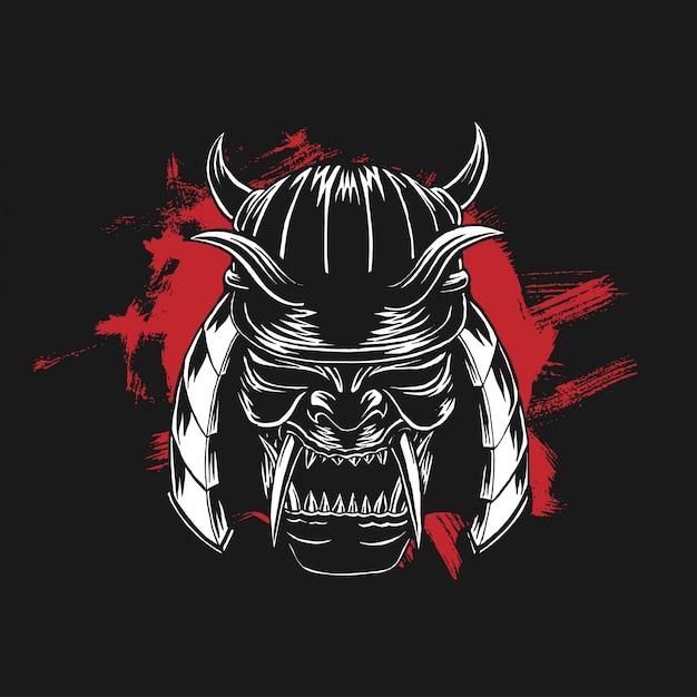 War helm of the samurai warrior Premium Wektorów