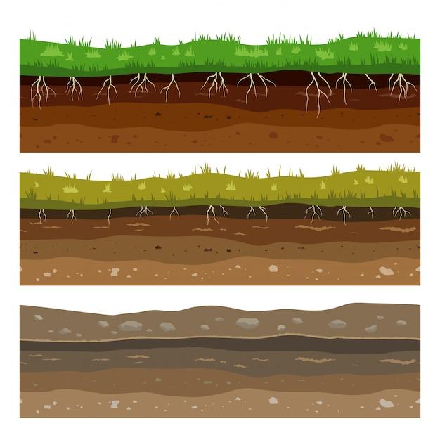 Warstwy Gruntu Glebowego. Jednolite Tekstury Powierzchni Ziemi Brudu Campo Z Kamieniami I Trawą. Premium Wektorów