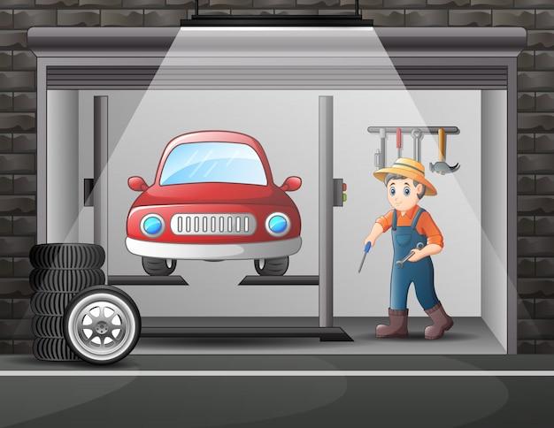 Warsztat Kreskówek Z Załogą Mechanika Naprawiającą Samochód Premium Wektorów
