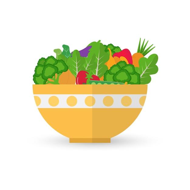 Warzywa I Owoce W żółtej Misce. Sałatka Ilustracja Zdrowej żywności. Premium Wektorów