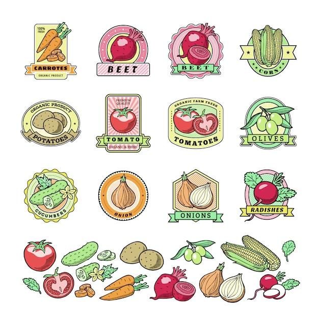 Warzywa Logo Zdrowe Wegetariańskie Logo Pomidor I Marchew Dla Wegetarian żywności Ekologicznej W Sklepie Spożywczym Ilustracja Wegetatywna Odznaki Zestaw Na Białym Tle Premium Wektorów