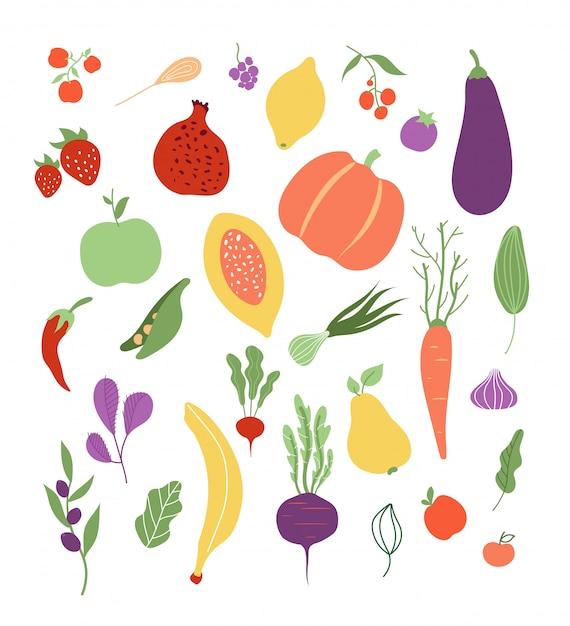 Warzywa Owocowe Owoce Warzywa Jedzenie Zdrowe Logo Wegetariańskie Posiłek Clipartów Zestaw Premium Wektorów
