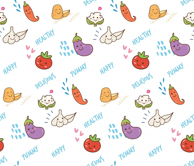Warzywo doodle bezszwowy tło Premium Wektorów