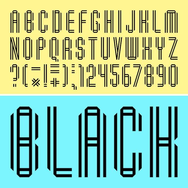 Wąska czcionka, czarne litery złożone z dwóch taśm papierowych Premium Wektorów