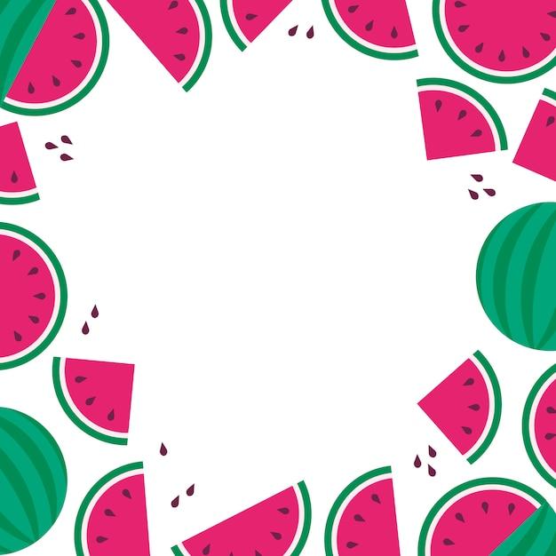 Wateramelon frame background, letnia wyprzedaż, impreza owocowa, płaski styl Premium Wektorów