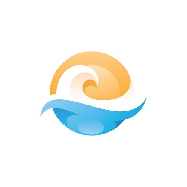 Wave Sea Beach I Logo Słońca Premium Wektorów