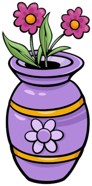 Wazon Z Kwiatami Clipartów Ilustracja Kreskówka Premium Wektorów