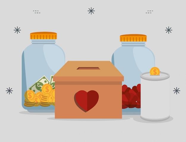 Wazony z pieniędzmi na datek charytatywny Darmowych Wektorów