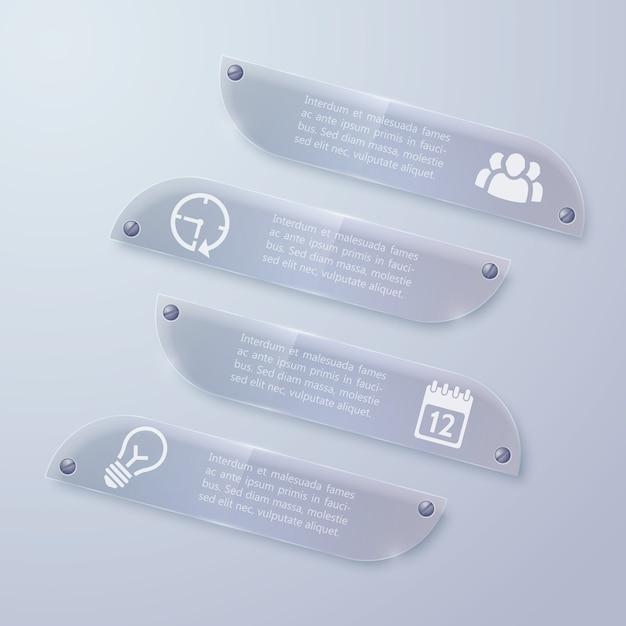 Web Glass Infographic Poziome Bannery Darmowych Wektorów