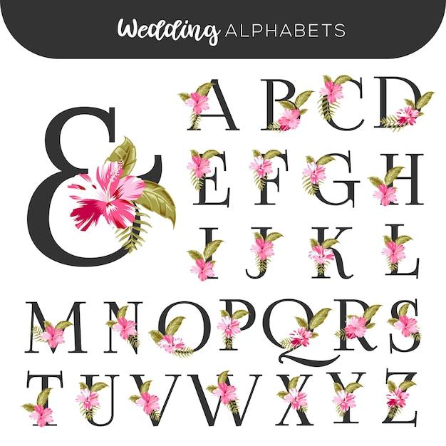 Wedding floral alphabets pink hibiscus Premium Wektorów
