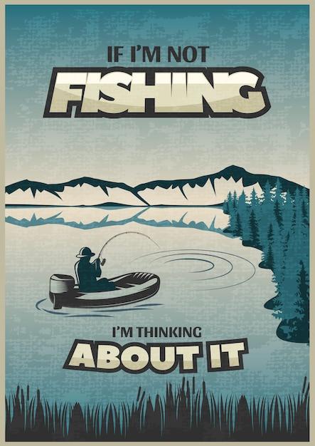Wędkarski Niebieski Plakat Z Nagłówkiem Jeśli łowię, Myślę O Tym I Rybaku Darmowych Wektorów