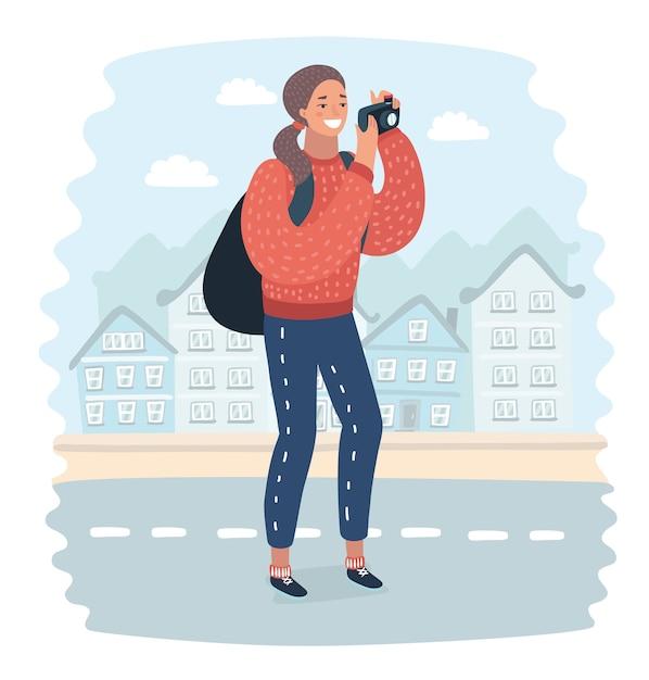 Wędrowiec Kobieta Robi Zdjęcie Aparatem Telefonu Komórkowego Dużego Nowego Jorku, Stojąc Na Wysokim Budynku Na Dachu. Hipsterska Dziewczyna Kręci Film Z Widokiem Na Telefon Komórkowy Podczas Podróży Do Chin Premium Wektorów