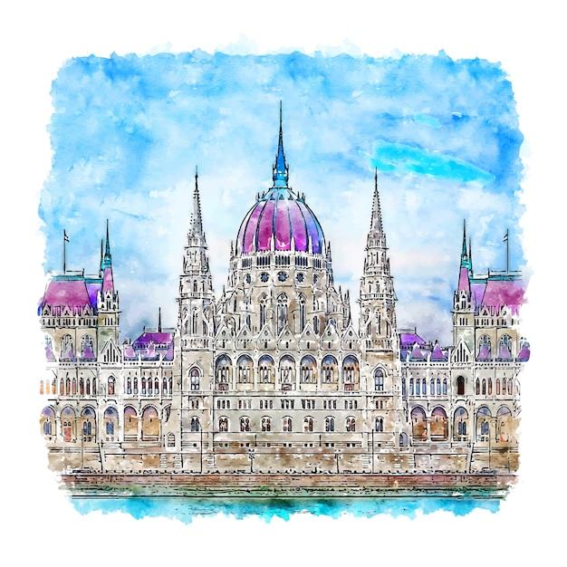 Węgierski Parlament Budapeszt Szkic Akwarela Ręcznie Rysowane Ilustracji Premium Wektorów