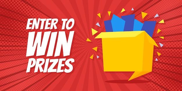 Wejdź, Aby Wygrać Nagrody Baner Na Pudełko Upominkowe Premium Wektorów