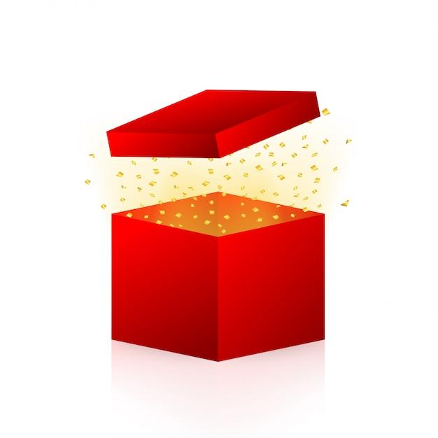 Wejdź, Aby Wygrać Nagrody. Otwórz Czerwone Pudełko I Konfetti. Ilustracji. Premium Wektorów