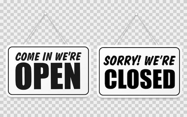 Wejdź, Jesteśmy Otwarci Lub Zamknięci, Zestaw Znaków Premium Wektorów